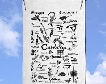 Canberra Queanbeyan Yass Goulburn Cooma Tumut Braidwood  Bungendore Hand Screen Printed Tea Towel