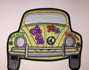 Volkswagen Bus Peace Love Flowers Wesfalia Bus hippy hippie Iron On Patch