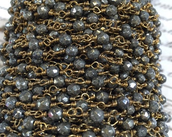 2 FEET INCLUDED, Genuine Pyrite 4mm beaded chain, faceted bead, wire wrapped chain, gold metal non tarnish wire,wear with silver and gold