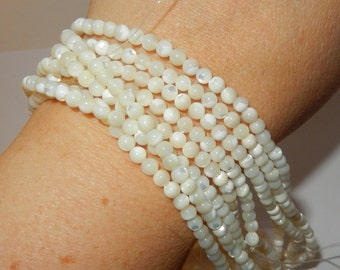 """Mother of Pearl Beads 4mm - 16"""" strand"""