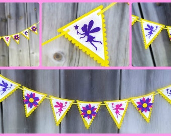Fairy Bunting - Fairy Garland - Fairy Banner - Flower Bunting - Flower Garland -  Fairy Flags - Fairy Birthday Party - Fairy Bedroom