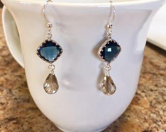 Navy Blue and Gray Earrings, Bridal Earrings, Bridesmaid Earrings, Swarovski Crystal, Sterling Silver