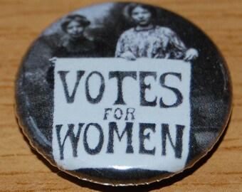 Votes for Women Photo Button Badge 25mm / 1 inch Suffragette Feminist Emmeline Pankhurst