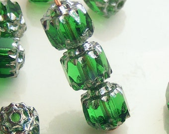 6mm Cathedral Beads Czech Glass Fire Polish Green with Silver (Qty 10) SRB-6FPC-G-S