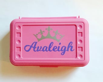 Personalized Pencil Box - Princess - Back to School, School Supplies, Pencil Case, Pencil Box, Tiara, Crown