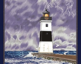 Blank Quilting - Lighthouse Wonders - Stormy Lighthouse Panel - Purple