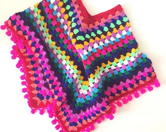 Crochet poncho for girl in bright colors with pompom edging  | 100% high quality acrylic yarn | size 5/7