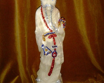 Chinese Carved Alabaster Jeweled Statue Sculpture