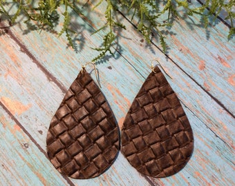 XLarge Teardrop leather earrings, brown basketweave leather teardrop earrings, brown leather earrings