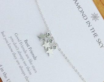 Best Friends, Stars Bracelet, friends are like stars on Gift Card