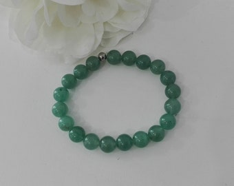 semi precious beads bracelet skin problems, gemstone aventurine, green jewel of protection, gift for her and him