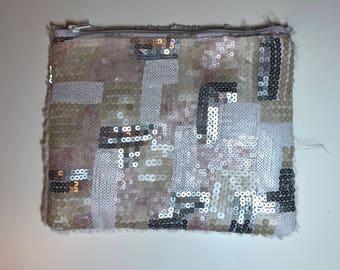 Sequined Faux Fur Clutch Bag