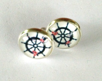 Earrings with nails, wheel, ship wheel, anchor, pinup, nautical, roses, 12 mm in diameter, cabochon, nautical gift