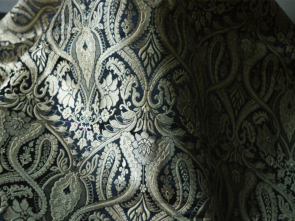 Brocade Fabric Black and Gold Floral Pattern Weaving Indian