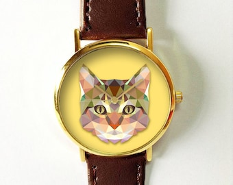 Geometric Cat Face Watch, Leather Watch, Women's Watch, Men's Watch, Vintage Style Watch, Cat Lovers, Gift, Polygonal, Unique, Personalized