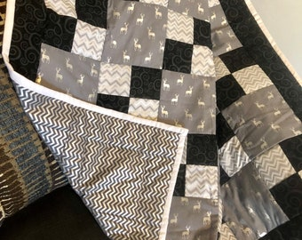 Custom Baby Quilt, Custom Toddler Quilt, Deer, Wilderness, Grey and Black