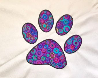 Dog Paw Print Applique Machine Embroidery Design 6x6 & 8x8 by Pixie Willow Patterns