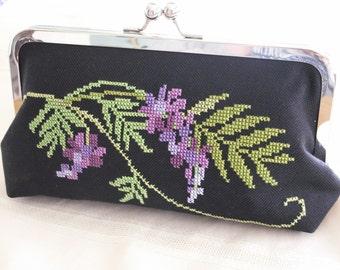 Handmade, hand embroidered clutch handbag. Purple, green. WISTERIA GARDEN by Lella Rae on Etsy