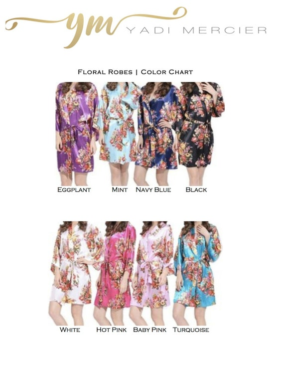 Silk Robes Party of Set Floral Party Robes Robes Floral Bridal Robe Gifts Wedding Robe Bridesmaids Silk Satin Bridesmaids Floral 12 w0q1pfAnp
