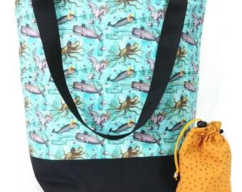 Studio Bucket Tote - Knitting & Crochet Large Project Bag - Steam Punk Ocean
