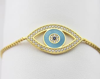 Evil Eye Protection Tennis Bracelet White CZ and Enamel Sterling Silver 925 and Gold Plated 14K Adjustable Wrist Size