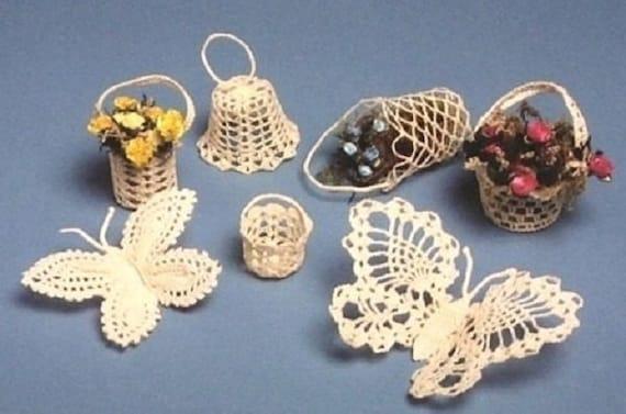 Pdf Crochet Pattern Butterflies Bells Baskets Thread