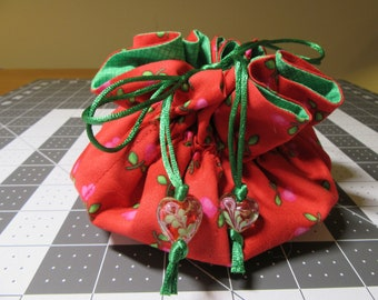 Jewelry Drawstring Travel Pouch/Tote/Bag/Organizer - Large Size - Handmade - Red, Pink, Green Hearts/Valentine/Christmas