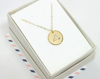 New York Necklace, Hand Stamped NY, Gold Circle New York State Necklace, State Necklace, Travel Jewelry, State Charm, NYC Necklace, NY Charm