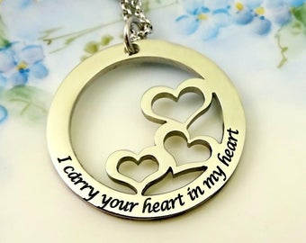 I Carry Your Heart in my Heart Necklace  - Mom Mother Grandma Nana -  Engraved - Remembrance Memorial Mothers Day gift - Grief Mourning