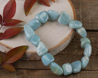 Tumbled AMAZONITE Bracelet- Stretch Bracelet, Tumbled Stone, Raw Amazonite Jewelry, Amazonite Bead, Healing Crystal, Amazonite Crystal E0369
