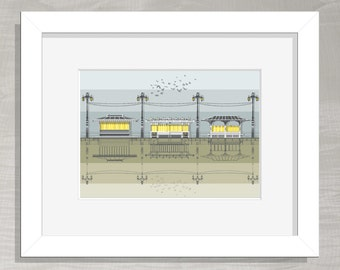 Brighton Architectural Print - Seafront Shelters