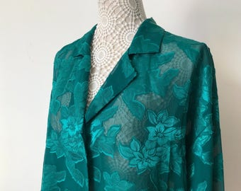 Vintage 70's Victorias Secret Sleep Button Front Collared Sheer Peekaboo Size S