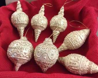Reduced Vintage 7ct. Gold & Beige Christmas Ball Decorations / Ornaments