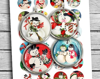 Printable Retro Snowman 1 inch 25mm 30mm 1.5 inch Round images for Scrapbooking Planner Stickers Magnets Digital Collage Sheet