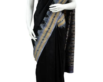 Hand woven Orissa Ikkat Silk Saree in Black Color with Grey Border and Pallu