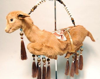 Taxidermy LAMBAG Purse with Tassels and Wire Handle with Genuine Vertebrae & Tigers Eye Gems