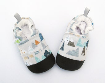 Eco-Canvas Vegan Adventure Awaits in Blue / Non-slip Soft Sole Baby Shoes / Made to Order / Babies Toddlers Preschool