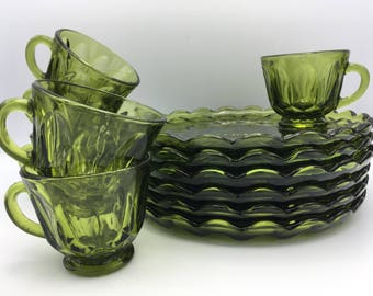 Vintage Anchor Hocking Glass Fairfield Snack Luncheon Plate Cup Set Avocado Green 12 Piece