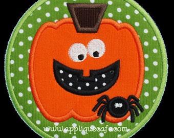888 Spider Pumpkin Patch Machine Embroidery Applique Design