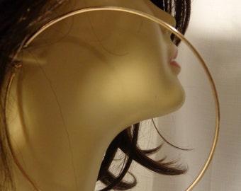 LARGE Hoop Earrings GOLD tone Rhodium Hoop Earrings 4.25 inch Hoop Earrings