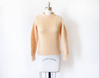 peach wool sweater, vintage 70s Nordic sweater, pullover chunky waffle knit Scandinavian sweater,  made in Denmark, extra small xs