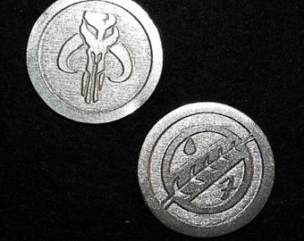 Mandalorian Heads or Tails Pewter Flipping Coin