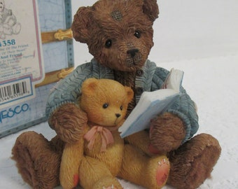 "Vintage Cherished Teddies resin ""Baxter and Friend "" It's Not The Size Of The Friend but The Size Of Their Heart"" figurine 644358"