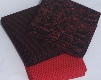 Black and Red Fat Quarter Fabric Bundle
