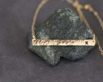 Gold Bar Necklace, Gold Necklace, Dainty Necklace, Silver Bar Necklace, Initial Necklace, Hammered Bar, Skinny Bar