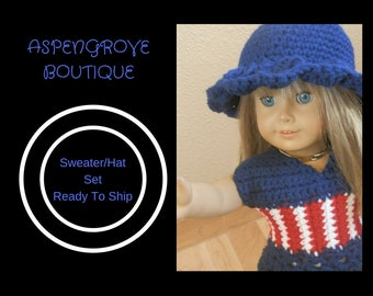 18 inch doll handmade patriotic Top hat set Ready to ship