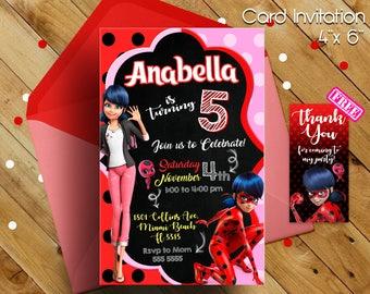 Miraculous Ladybug Invitation, miraculous ladybug, miraculous ladybug birthday,miraculous ladybug party,miraculous birthday, ladybug, party