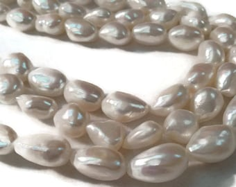 "Nugget Fresh Water Pearl , Natural Pearl ,Length 16"" Size of Nuggets 10X14MM, Pearl Nugget Necklace"