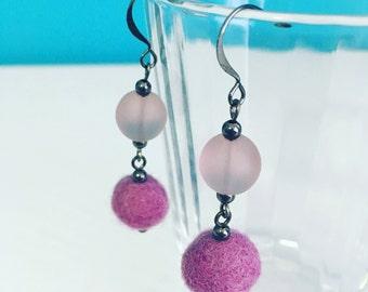 Newport Felt Earrings in Lavender, Purple Statement Earrings, Dangle Earrings, Recycled Glass, Felt Ball, Gift for Her, Gift Under 20, Lilac