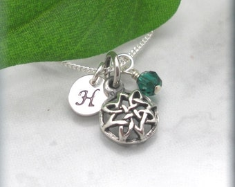 Celtic Knot Personalized Necklace Initial Pendant Birthstone Jewelry Sterling Silver Charm Domes Irish Jewelry